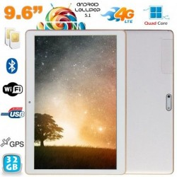 Tablette 4G Android Lollipop 9.6 pouces Dual SIM Quad Core 32Go Blanc