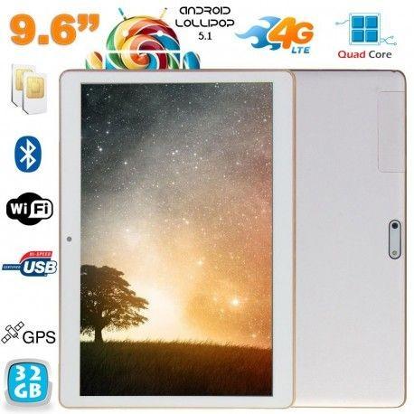 Tablette 4G Android Lollipop 9.6 pouces Dual SIM Quad Core 32Go Blanc
