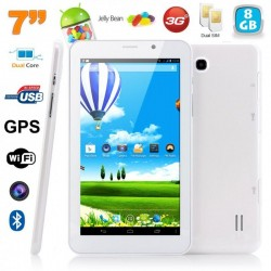 Tablette tactile 3G 7 pouces Android 4.4 Dual core SIM GPS 8Go Blanc