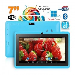 Tablette 7 pouces Bluetooth Quad Core Android 5.1 Lollipop 12Go Bleu