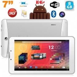 Tablette 3G 7 pouces GPS OTG Android 4.4 Double SIM 8Go Blanc