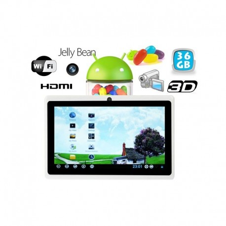 Tablette tactile Android 4.1 Jelly Bean 7 pouces HDMI 36 Go Blanc