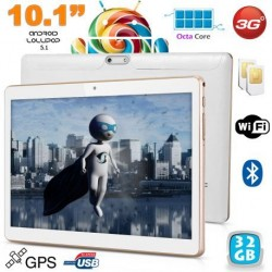"Tablette 10.1"" Android 5.1 Multimédia 3G Octa Core Double SIM GPS 32Go"