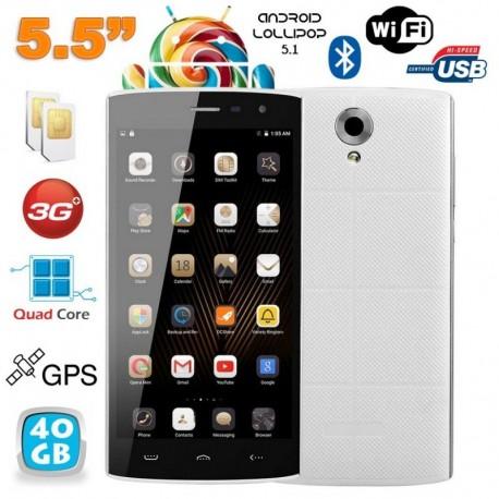 Smartphone Android 5.1 Quad Core 5.5 pouces Double SIM Blanc 40Go