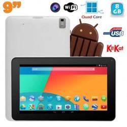 Tablette tactile 9 pouces Android 4.4 Bluetooth Quad Core 8Go Blanc