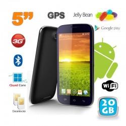 Smartphone android 5 pouces téléphone débloqué Quad Core 20 Go Noir