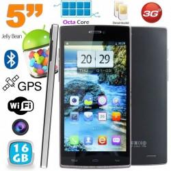 Smartphone Octa Core 5 pouces double SIM Android débloqué 16Go Noir
